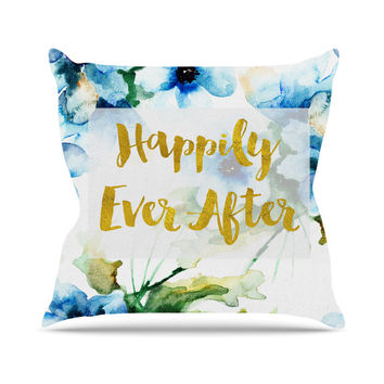 Happily Ever After Fairytale Story Quote Teal Blue Floral Wedding Bride Future Home Decor Mrs Wife Fashion Home Decor Throw Pillows