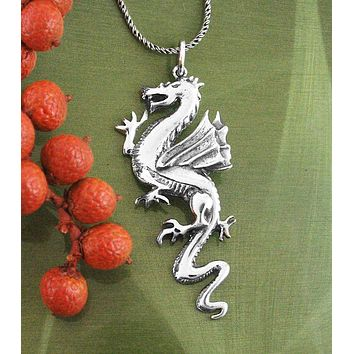 Mythical Winged Medieval Dragon Necklace