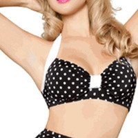Sexy Vintage Black And White Polka Dot Bikini Top
