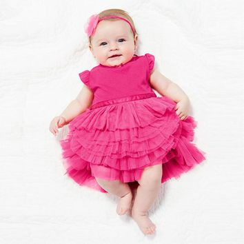 Toddler Baby Girl Cake Dress Princess Tutu Dress Cotton Blends Top Clothes 0-3Y 79