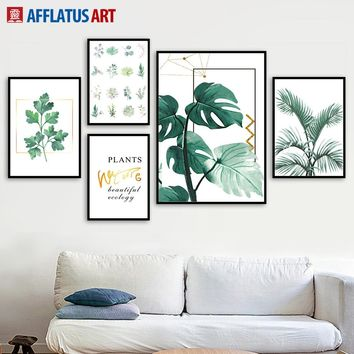 Watercolor Green Plants Leaves Wall Art Canvas Painting Nordic Posters And Prints Canvas Pictures For Living Room Home Decor