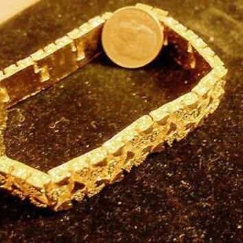 bling 14k yellow gold plated 11mm 7 inch nugget hip hop trendy fashion chain bracelet wide thick heavy fat thug pimp gang dress jewelry