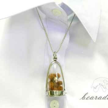 miniature bear glass bottle charm necklace with 20 inch chain necklace