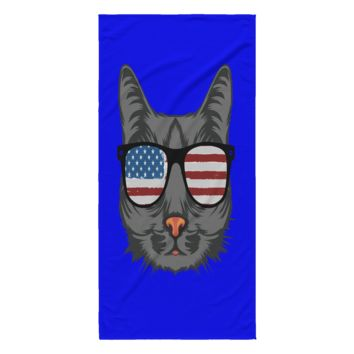 "Cat Beach Towel - 4th of July Cat American Flag 30"" x 62"" 100% Polyester (Black, Blue, Red, White)"