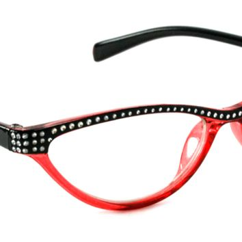 WOMEN CAT EYE READING GLASSES RITA FASHION RHINESTONE VINTAGE BLING FRAME