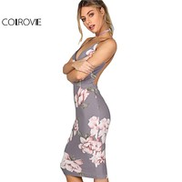 Bodycon Women Grey Floral Sexy Backless Slip Dresses Plunge Neck Elegant Midi Dress