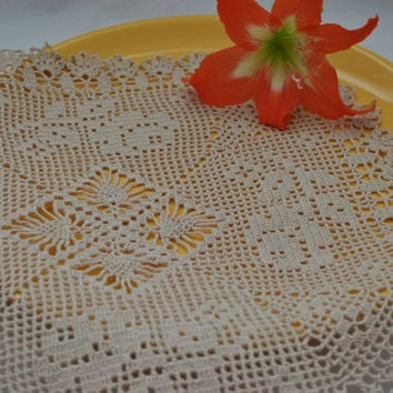 Large crochet doily with roses and pineapple Square doilies Beige cotton lace doily Rustic table decor,Crocheted doilies,Best Wedding Gift #