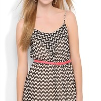 Chevron A Line Dress with Ruffle Neckline and Belt at Waist