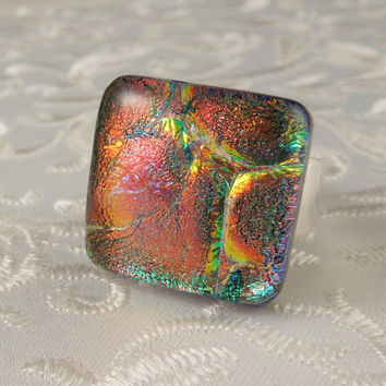 Large Jewelry - Dichroic Jewelry - Geekery Jewelry - Dichroic Fused Glass Ring - Metal Ring - Fused Glass Ring - Glass Ring X4791