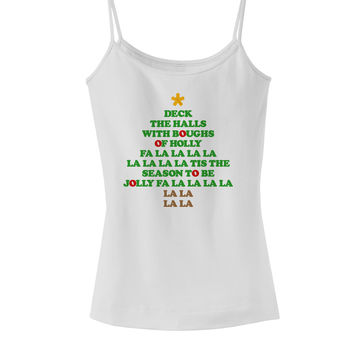 Deck the Halls Lyrics Christmas Tree Spaghetti Strap Tank