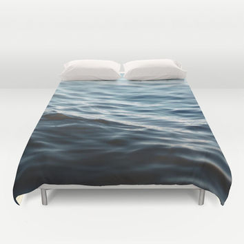 Dark Waters 2 - Duvet Cover, Navy Blue Ocean Surf Bedding, Coastal Home Bedroom Throw Cover Accent. Available in Full / Queen / King Size