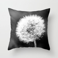 Black and White or Color Pillow Cover Dandelion Photography Living Room Bedroom Flower Photo Throw Pillow Case Nature Green Whimsical 16x16