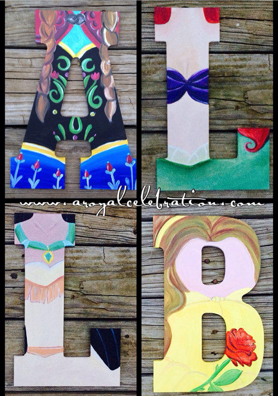 Disney princess wood letter art from ohdarlingcrafts on for Wooden letters for crafts