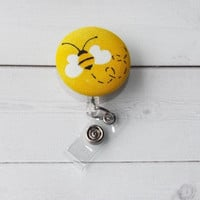 bees Retractable ID Badge Holder Reel  - Fabric Button -  rn lpn teacher nurse - id reel