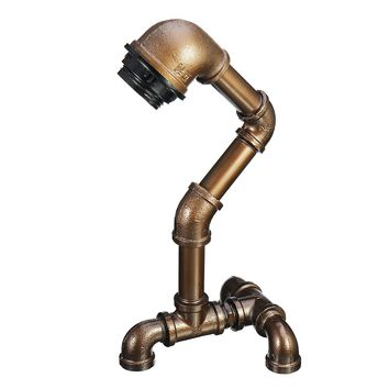 Vintage Industrial Robot Light Water Pipe Steampunk Desk Table Lamp Bedroom E27