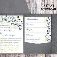 Pocket Wedding Invitation Template Set DIY EDITABLE Word File Instant Download Navy Blue Wedding Invitations Printable Floral Invitation