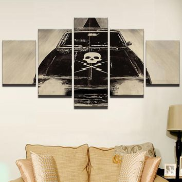 Skull Lightning Car Movie Shop Man Cave Wall Art Picture Image