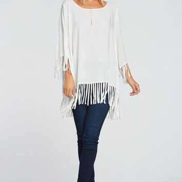 Sleeve & Bottom Fringe Tunic Top