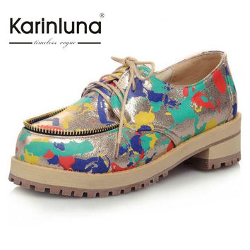 KarinLuna Big Size 31-43 New Style Women Loafers Pumps Round Toe Platform Shoes Lace Up Thick Low Heel Shoes Autumn Spring Pumps