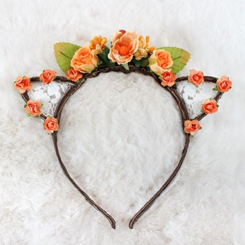 Orange Floral Lace Cat Ears - Flower Lace Cat Headband - Cat Ears Headband - Kitty Ears - Coachella Festival - Kitten play Ears - Petplay