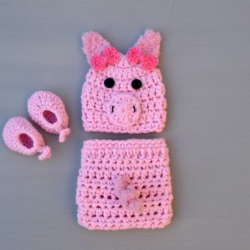 Crochet Pink Baby Pig Outfit Newborn Photography Props