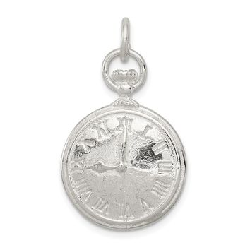 925 Sterling Silver Clock Charm and Pendant