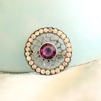 Antique 1910 Amethyst Rhinestone Circle Pot Metal Brooch Small Delicate