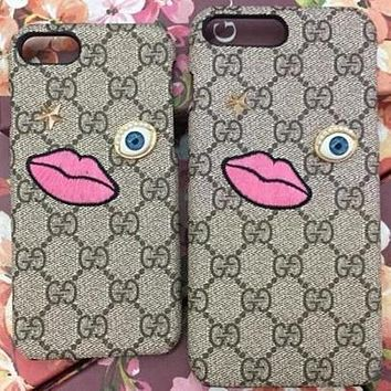 GUCCI Fashion Pattern Print iPhone Phone Cover Case For iphone 6 6s 6plus 6s-plus 7 7plus 8 8plus