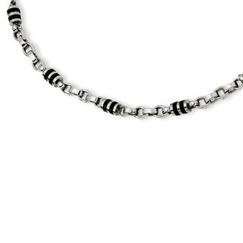 Stainless Steel and Rubber Accent Barrel Link Necklace