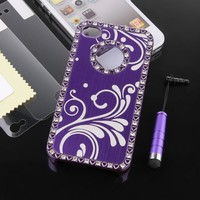 Pandamimi Deluxe Purple Chrome Bling Crystal Rhinestone Hard Case Skin Cover for Apple iPhone 4 4S 4G With Screen Protector and Purple Stylus