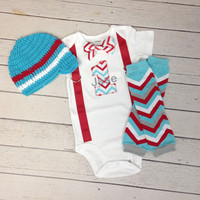 Boys FIRST BIRTHDAY Outfit, Cake Smash Outfit, Boys Chevron Crawlers, Baby Boys Aqua Blue Beanie, Boys 1st Birthday, Boys Chevron Bow Tie