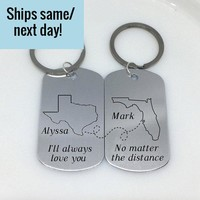Long Distance Relationship, Friendship Keychain, Long Distance Keychain, Any States or Country, Engraved Keychain, Deployment Keychain