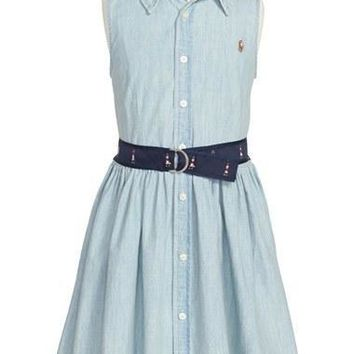 Girl's Ralph Lauren Sleeveless Chambray Shirtdress