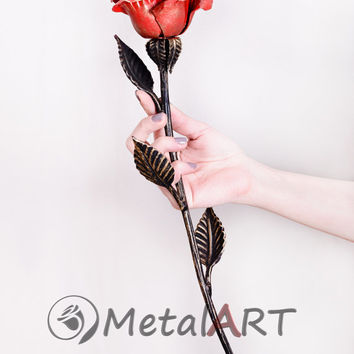 Metal Rose Gold-Red / Steel Anniversary/ Iron Anniversary gift/ 11th Anniversary/ 6th Anniversary Gift/ 4th Anniversary/ Metal Sculpture