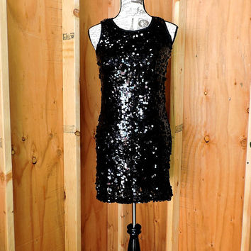 Black sequin dress / size XS / S / 4 / 6  / 90s sexy sequined dress / 1990s black  party cocktail dress