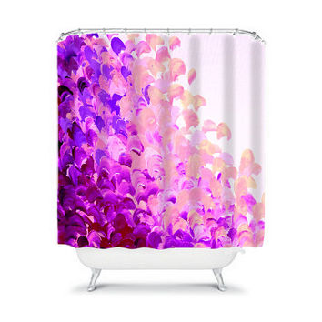 CREATION IN COLOR Lavender Purple Art Painting Shower Curtain Washable Floral Home Decor Colorful Chic Ocean Waves Modern Lilac Bathroom