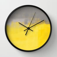 Grey and Yellow Abstract Art Painting Wall Clock by T30 Gallery