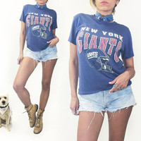 Vintage Early 1980's Paper Thin Official New York Giants Football 50 50 Ringer Tee || Mens XS Ladies S to M