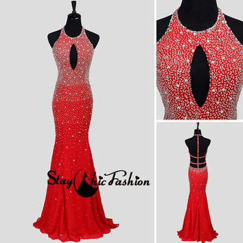 Sexy Red Long Keyhole Beaded Halter Straped Open Back Mermaid Dress