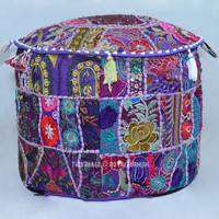 Purple Round Patchwork Embroidered Indian Ottoman Seating Pouf on RoyalFurnish.com