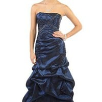 two tone strapless glitter ruched bodice and skirt long prom dress - debshops.com