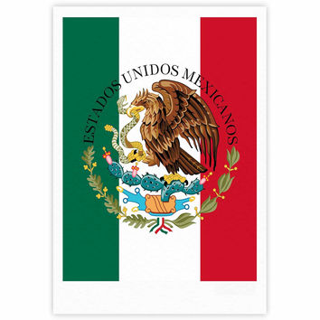"Bruce Stanfield ""Mexico Flag And Coat Of Arms"" Red Green Fine Art Gallery Print"