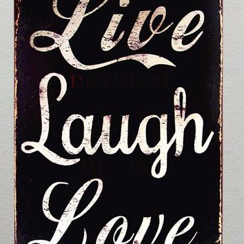 'Live Laugh Love' Retro Vintage Style Metal Sign