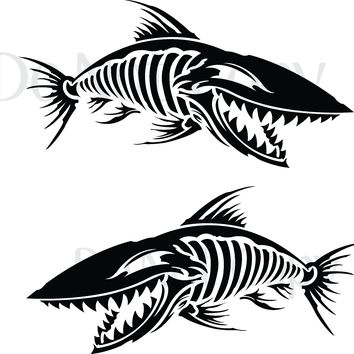 Skeleton Fish 004 Vinyl Graphic Decals