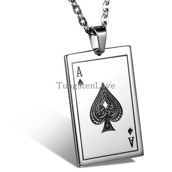 Playing Cards Spades A J Q K Pendant Stainless Steel Men's Necklace