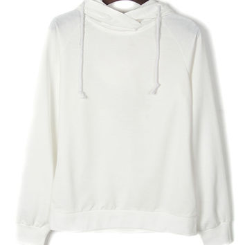 White Lace Up Back Plain Hoodie
