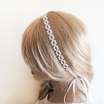 Pearl Bridal Hair, Pearl Headband Wedding, Pearl Headband, Wedding Hair Accessory, Wedding head pieces,  Wedding Hairstyle