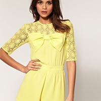 ASOS Yellow Lace Bow Playsuit