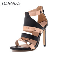 DiJiGirls New style women's sexy high heels Peep Toe Narrow Band Fashion Cut-Outs sandals Party Summer woman shoes size US5-9