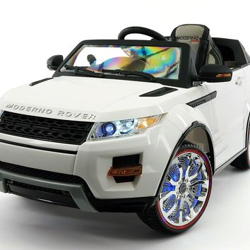 Moderno Rover 12V Kids Ride-On Car with R/C Parental Remote | White